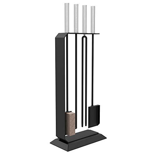 Design Kaminset Besteck Garnitur 4 teilig Kamin und Ofen Zubehör C4 schwarz