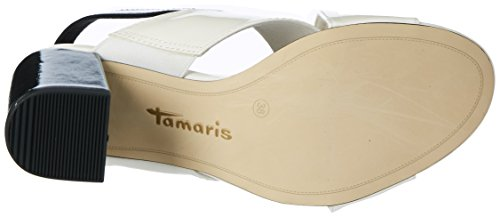 Tamaris 28395, Sandali con Zeppa Donna Bianco (Wht Pt/blk Pt 103)