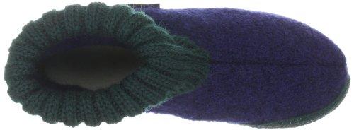 Haflinger Karl Unisex-Erwachsene Hohe Hausschuhe Mehrfarbig (500 ocean/tanne)