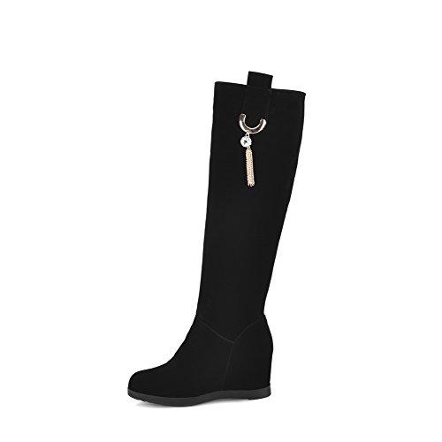 AllhqFashion Damen Hoch-Spitze Ziehen auf Hoher Absatz Rund Zehe Stiefel mit Anhänger, Schwarz, 36