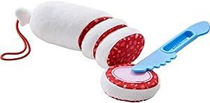 Haba 304229-Salami, Accesorios para Compra de Carga y niños Cocina, Salami Discos de plástico con Cuchilla para Cortar, Juguetes, a Partir de 3años