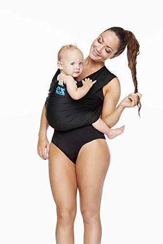 ByKay AQUA-Carrier Babytrage ❤ Leichte, wasserfeste und schnelltrocknende Bauchtrage für Badezimmer, Schwimmbad und Strand | Stoffgeprüft: Öko-Tex Standard 100 | Farbe: Schwarz - One Size bis 15 kg