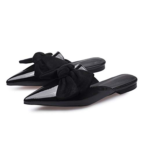 Rex rabbit-SS Sommer Damenschuhe Spitzen Stilettos große Sandalen Bow Sand Drag,Black,40 -