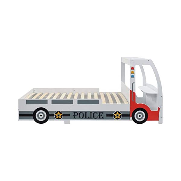 Festnight` Children's Police Car Bed with Desk 90x200 cm Festnight Overall dimensions: 260,5 x 97 x 117 cm (L x W x H) Featuring an appealing police car design and solid construction, this children's bed will be a real eye-catcher in your kid's bedroom. Comfortable, functional, and aesthetically-pleasing, this bed is designed to ensure the utmost comfort and maximum safety for kids. 2