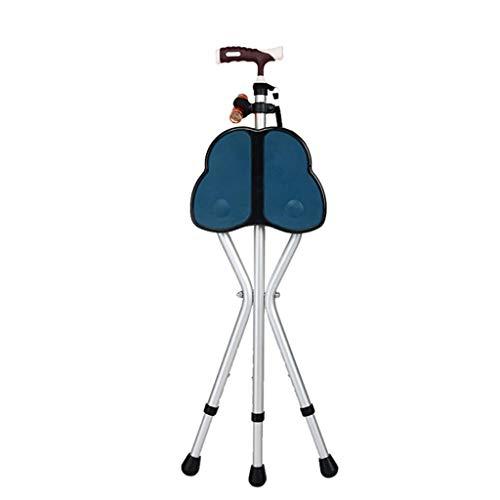 AZBYC Höhenverstellbare Alu-Gehstock Mit Sitzfläche, Waik Stick Mit Sitz/Medical Faltbar Gehstock(mit Taschenlampe, Fuß - Pad)