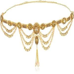 WomenSky Full Waist Crystal Gold Plated Preals Stylish Waistchain/Kamarpatta/Ottiyanam/Kamarband/Tagdi for Women and Girls Wear On Saree/lahnga and Ethnic Wear