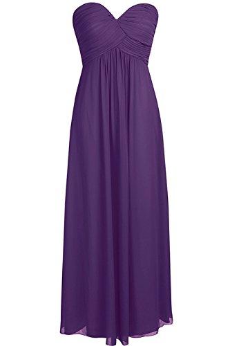 Tiaobug Damen Kleider elegant Abendkleid festlich Hochzeit Cocktailkleid Chiffon Faltenrock langes Brautjungfernkleid Gr. 34-46 Lila 34 (Herstellergröße: 4) - Chiffon-langes Kleid Lila