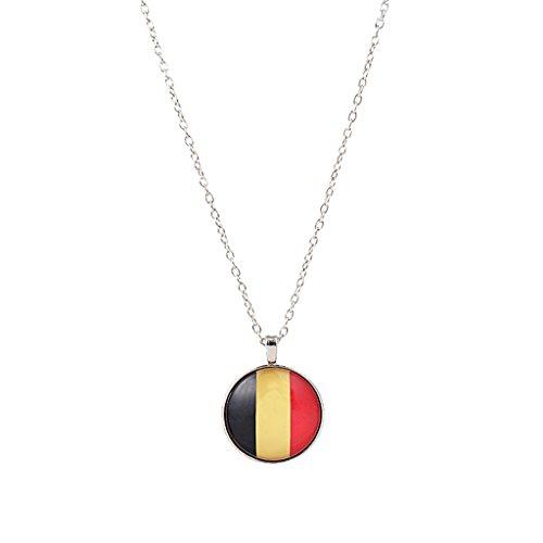 Baoblaze 1 Stück Flagge Muster Rund form Anhänger Lange Hals Schmuck Geschenk - Mehrfarbig belgien