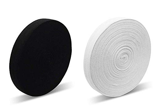 Baumwollband in weiß und schwarz Wimpelkette Schürze Gurtband - 19 mm - ideal zum Nähen, Schneidern, Veränderungen, Basteln, 50 m Rolle Schwarz