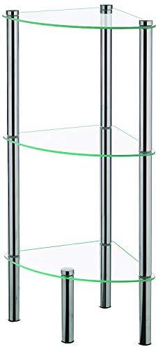 Kela 18050, Eckregal, 3 Etagen, Metall/ Sicherheitsglas, 28,5x 28,5x 76 cm, Ole, Verchromt