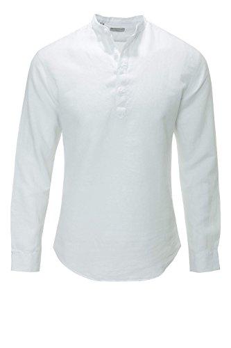 Selected Herren Langarmhemd Freizeithemd Leinenhemd White