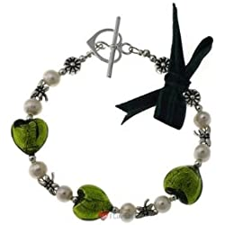 Emerald Pearl Murano Glass Dragonfly Black Watch Bracelet