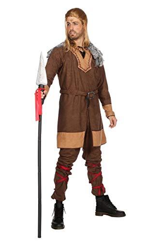 Wikingerkostüm Kostüm Wikinger Nordmann Ragnar Barbar Karneval Fasching Braun 56 - Barbar Kostüm Männer