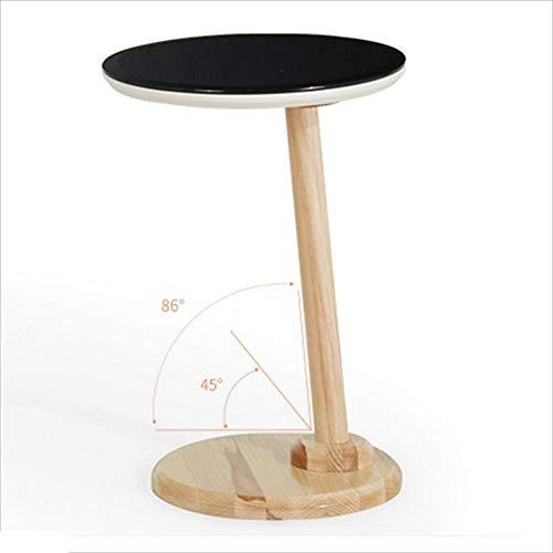 Axdwfd Table d'appoint en verre trempé noir + table en bois massif pied de table de mode canapé table basse salon salon téléphone