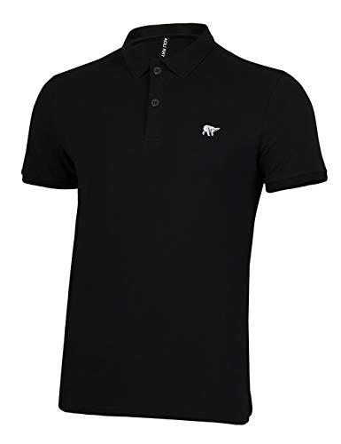 Herren Polo Shirts Kurzarm Poloshirts 100% Baumwolle Sommer T-Shirt Bär Stickerei Polohemd Schwarz Größe:M (Shirt Stickerei)