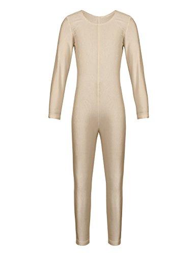 Tiaobug Mädchen Ballettanzug Langarm Ballett Trikot Ganzkörperanzug Kinder Einteiler Jumpsuit Kostüm Overall Elastischer Body Gymnastik Turnanzug Hautfarbe 110-116