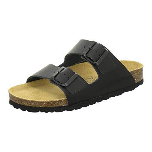 AFS-Schuhe 2100, Bequeme Damen Pantoletten echt Leder, praktische Arbeitsschuhe, Hausschuhe, Handmade in Germany Größe 41 EU Schwarz (schwarz Glattleder)