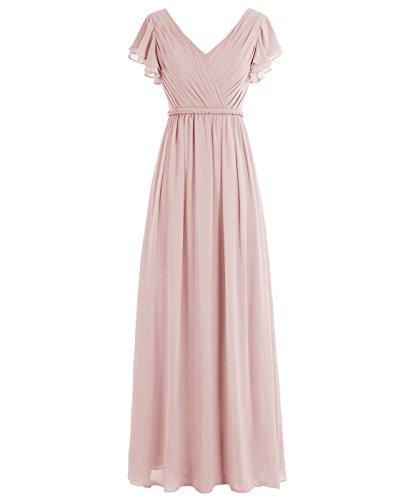 Dressystar Robe femme élégante simple,Robe demoiselle d'honneur, soirée/bal longue à col en V en mousseline Blush