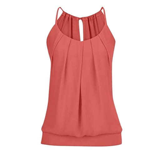 ESAILQ Damen Sommer O Neck Geknitterte Cami Tank Tops Weste Mode Weich Bluse Loose Casual (Rot, 4XL) (Fell Damen Weste)