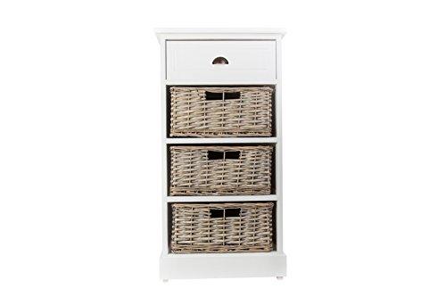 Chatworth Style shabby chic Blanc Coffre à table de chevet en bois avec 1 tiroir et 3 paniers en osier