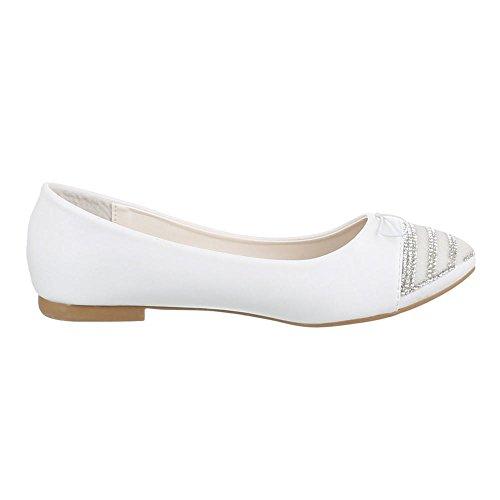 Damen Schuhe, 5020, BALLERINAS PUMPS MIT STRASS DEKO Weiß