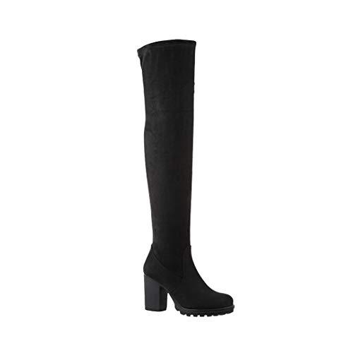 Elara Damen Stiefel Overknee High Heels Absatz Chunkyrayan E4835 Black-38