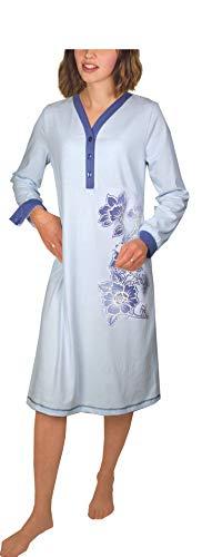 Consult-Tex Damen Langarm Nachthemd 100% Baumwolle DW301 (48/50, Lightblue)