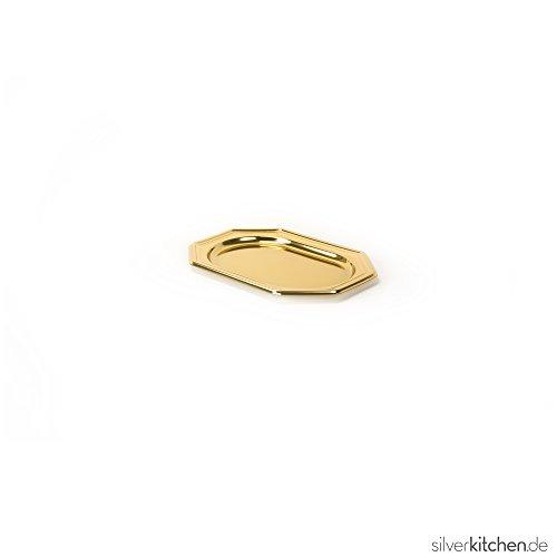 Silverkitchen 5 Stück Einweg Servierplatte aus Plastik für Buffet Promotion Catering Verkostung u.v.m. | Robustes Einweggeschirr in Hochwertiger Qualität | Gold 8-eckig 27 x 19 cm