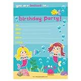20 biglietti d'invito per feste di compleanno bambini, motivo: sirena