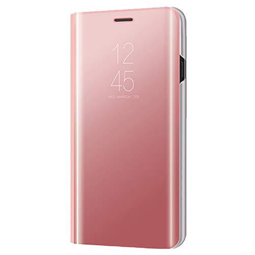 Xmas Mall Caso Mi 8 Pro,[Función de Kickstand][Espejo Protector][Ventana de Vista translúcida] Ultra-Delgado Lujo Galvanizar Enchapado Inteligente Caso Funda para Xiaomi Mi 8 Pro - Oro Rosa