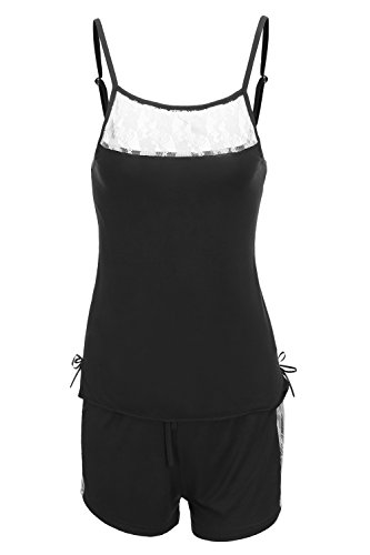 Monrolove Women Sexy Lace Lingerie 2 Piece Camisole Short Sleeveless Pajama Set