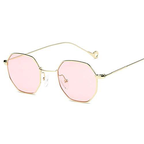 Gbcyp Classic Herren Damen Hexagon Square Sonnenbrille Metall Eyewear Fashion Shades Outdoor, Gold Pink