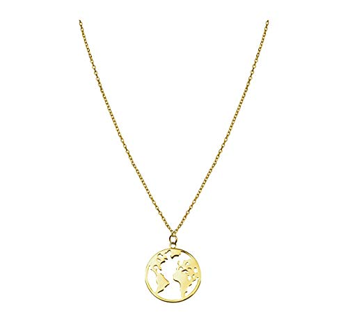 SOFIA MILANI Damen Halskette Globus Weltkarte Silber Vergoldet 50216