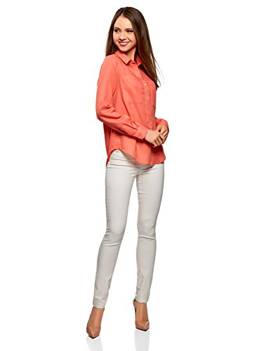 oodji Ultra Damen Lässiges Baumwoll-Hemd Rot (4300N)