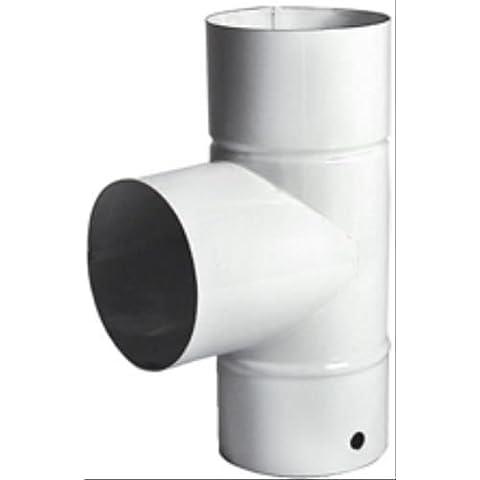 ALA 9774010 Desviación en Forma de T, Color Blanco Esmaltado, 10 cm de Diámetro