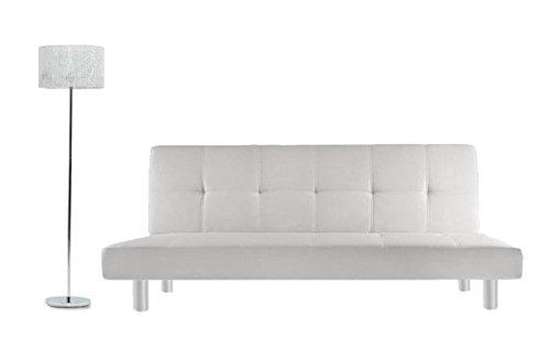 Divano letto 3 posti 180x80 ecopelle bianco stile moderno recrinabile da soggiorno divani letti