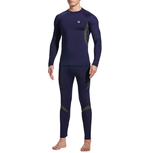 UNIQUEBELLA Thermounterwäsche Funktionswäsche Herren Skiunterwäsche Winter Suit Ski Thermo-Unterwäsche Set Thermowäsche Unterhemd + Unterhose (Dunkelblau(Neu), S)