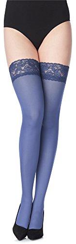 Merry Style Damen halterlose Mikrofaser 40 DEN Strümpfe mit Spitze MS 791 (Jeans-791, XS/S (32-38)) (Denim Spitze,)
