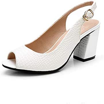 KOKQSX-i sandali di pelle femmina femmina femmina medio tacco 5cm pesante tallone superficiale bocche pesce in bocca solo le scarpe. 39 bianca B07HDY8X2X Parent | Design affascinante  | Diversi stili e stili  b6a980
