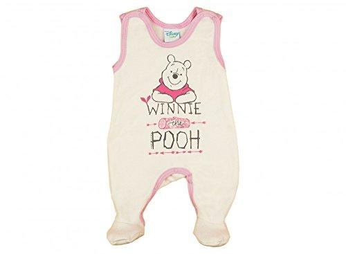 -Strampler Winnie The Pooh ÄRMELLOS mit Füßchen, GEFÜTTERT, Spiel-Anzug mit Druckknöpfen, Baby-Schlafanzug, Grösse 56, 62, 68, in beige, grau, blau, rosa Farbe Rosa, Größe 56 ()