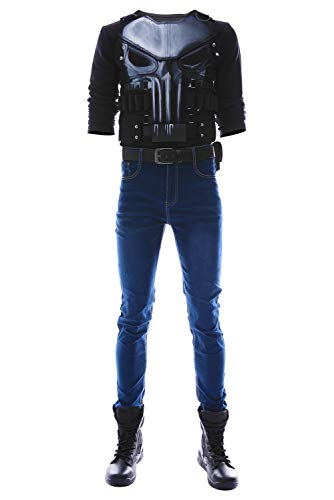MingoTor The Punisher Season 2 Frank Castle Outfit Cosplay Kostüm Herren XXL (Punisher Kostüm Halloween)