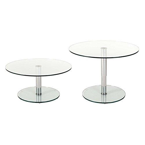 designement Table Ronde Chromé Transparent 90 x 90 x 72 cm