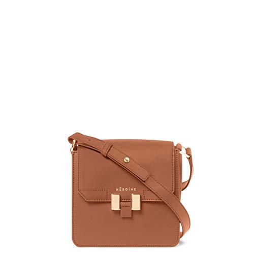 Maison Héroïne Tilda Smartphone | Crossbody Tasche | Handtasche | Damen | Cognac/Hellgrau | Umhängetasche | Leder | Schultertasche | Gepolstertes Smartphone Fach -