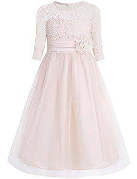 Freebily Vestido de Encaje Floreado de Fiesta Bautizo Ceremonia Princesa para Niña Dama de Honor
