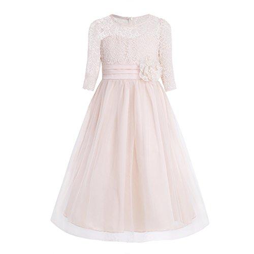YiZYiF Mädchen Kleider Prinzessin Kleid Blumen-Spitze Hochzeit Festliche Bankett Party Kleid...