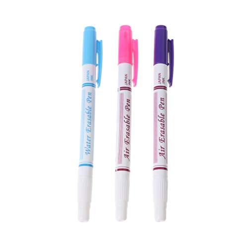 Ludzzi 3 stücke Luft löschbarer Stift Nützlich Doppelkopf Rot Blau Lila Stoff Marker Wasserlöslich Automatisch verschwinden Stifte Nähen Werkzeug (Verschwinden Stoff-marker)
