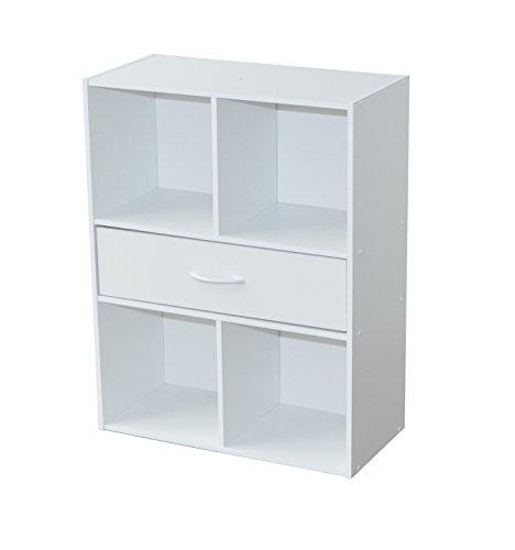 Alsapan 94483 compo 10 - mobile a 4 scompartimenti e 1 cassetto, dimensioni: 61,5 x 29,5 x 80 cm, colore: bianco