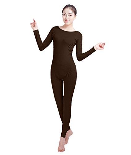 NiSeng Erwachsener und Kind Zentai Ganzkörperanzug Kostüm Ganzkörperanzug Fasching Bodysuit Kostüm Dunkelbraun S