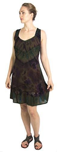Sakkas 181503 - Luciana Damen Tie Dye Bohemian Swing Midikleid mit Schlips und Smock Back - Olive - S/M (Wunderbare Frau Kostüm)