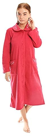 Ladies Boucle Fleece Button Dressing Gown Cerise 22-24